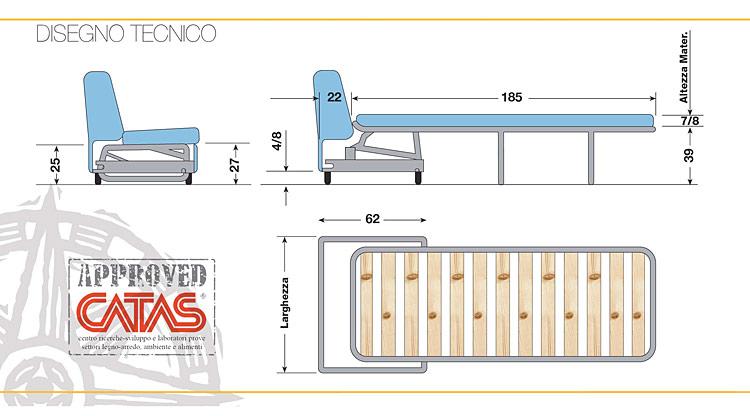 Reti materassi e trasformabili reti per divano letto for Divano disegno